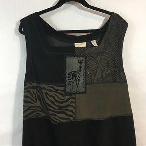 Amanda Smith Maxi Dress Sleeveless Animal Print 3X